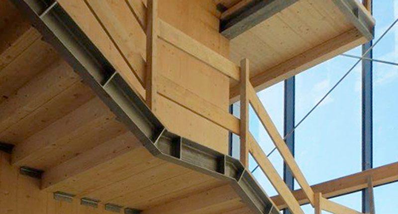 La struttura in legno di Atrium, a Parma